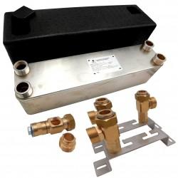 """Wymiennik ciepła Ba-60-60 5/4"""" do 230kW z izolacją termiczną i wspornikiem"""