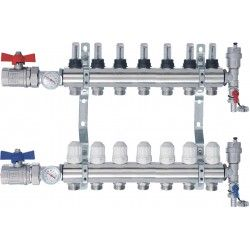 Rozdzielacz CO z przepływomierzami i termometrami - 7 sekcji